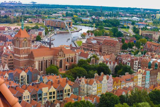 Aussicht von der Marienkirche in Danzig